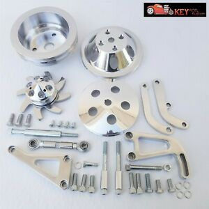 Small Block Chevy Polished Aluminum Bracket Pulley Kit Long Water Pump 350 400