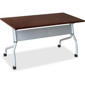 Lorell Mahogany Flip Top Training Table Rectangle Top Four Leg Base 4 Legs