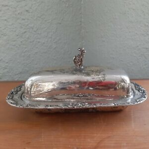 Vintage Silver Plated Butter Dish Roses With Glass Insert