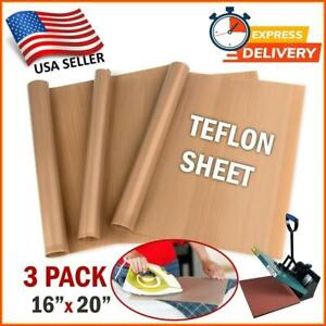 Teflon Transfer Sheets For Heat Press Reusable Non Stick Iron Resistant Mat 3 Pc