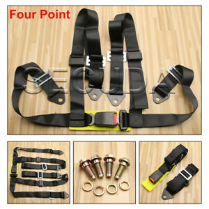 Hq Black 3 4 Point Racing Seat Belt Harness For Car track Day off Road Buggy