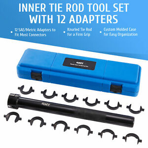 13pc Inner Tie Rod Removal Auto Tool Kit With 12 Sae Metric Crowfoot Adapters