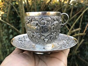Antique Indian Silver Cup Saucer Calcutta 1890 217 Gms Super Quality