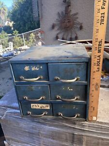Vintage Metal 6 Drawer Storage Cabinet Small Parts Hardware Bin Organizer Rare