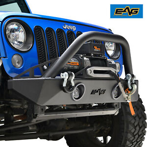 Eag Stubby Front Led Bumper With Winch Plate Fit 07 18 Jeep Wrangler Jk