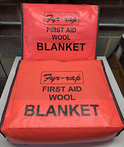 2 Safety Fire Blankets And Pouches Gently Used Fyr rap 4t178 Smoking Wool Lot