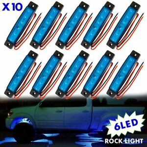 10pcs Blue Led Rock Lights For Jeep Off Road Truck Under Body Underglow Lamp Kit
