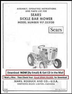 Sears 1969 Sickle Bar Mower 917 253120 Operator Instruction Parts Manual
