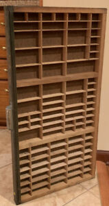 Vintage Printers Wooden Type Drawers Tray 32 X 16 1 2 Nice Condition