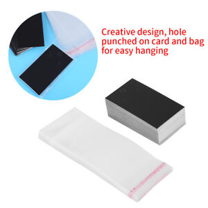 Jewelry Necklace Earring Display Cards W Self Adhesive Bags Clear Black 100sets