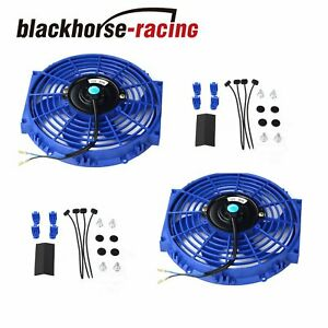 2x 10 Electric Radiator Engine Cooling Fan Mounting Zip Tie Kit Blue Universal