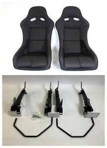 Pair 2 F1spec Type 5 Black Cloth Racing Bucket Seats Jdm For Ek9 96 00
