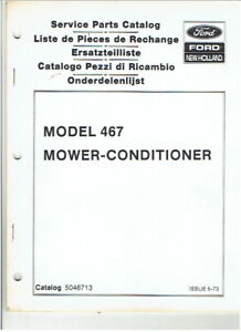 New Holland 467 Mower Conditioner Parts Manual
