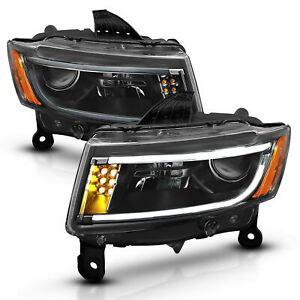 For 14 18 Jeep Grand Cherokee Black Led Bar Projector Headlights Headlamps Pair