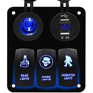 3 Gang Blue Rocker Switch Panel With Dual Usb And Power Charger Socket For Boat
