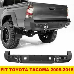 Steel Offroad Rear Bumper W Led Lights D rings For Toyota Tacoma 2005 2015
