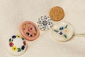 Lot Of 5 Vintage Mix Painted Glass Buttons 1 Domed 13 16 11 16