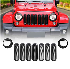 Front Grille Mesh Inserts Bezels Headlight Trim Cover For Jeep Wrangler Jk 07 17