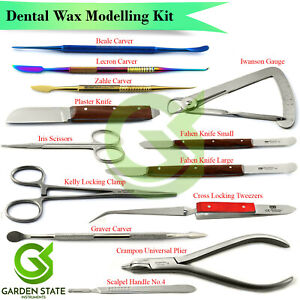 Dental Wax Gum Modelling Tools Waxing Carvers Set Alginate Knife Cement Spatula