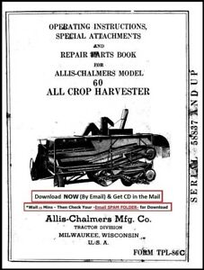 Allis chalmers All crop 60 Operator Instructions Attachment Parts Manual