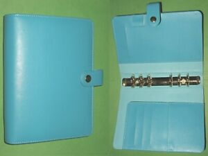 Personal 1 0 Aqua Faux Leather Day Runner Planner Binder Filofax Organizer