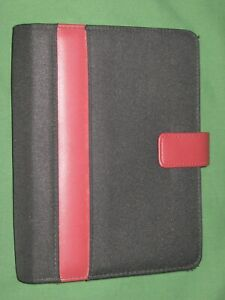 Compact 1 0 Red Faux Leather Black Nylon Franklin Covey 365 Planner Binder