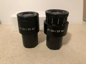 Pair Of Zeiss Pl 10x 20 Goggles Glasses Microscope Eyepieces