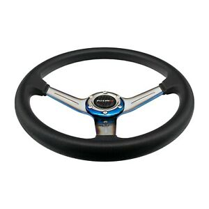 Nismo Racing Steering Wheel Black Leather burnt Blue Spoke 350mm 14 Deep Dish