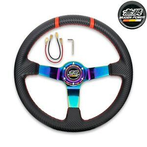 Mugen Racing Steering Wheel Black Leather burnt Blue Spoke 350mm 14 Deep Dish