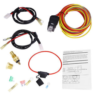 Electric Cooling Fan Wiring Thermostat Harness Kit 165 185 Dual 40 Amp 3 8 Npt