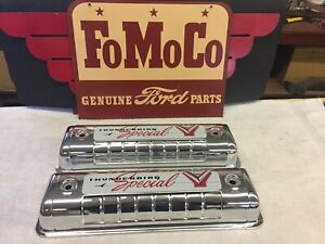 1955 1956 1957 Ford Chrome Valve Covers With 1957 Decals New Y Block