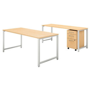 72w X 30d Table Desk W Credenza And 3 Drawer Mobile Ped Bsh400s170ac