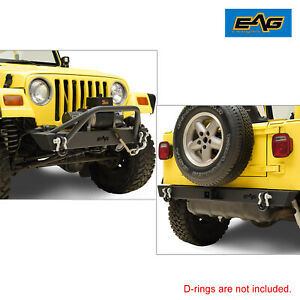 Eag Extre Offroad Combo Front rear Bumper Black Fit 87 06 Jeep Wrangler Tj Yj