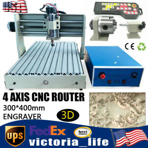 4 Axis Cnc 3040 Router 3d Wood Engraver Engraving Carving Machine 400w handwheel
