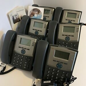Lot Of 6 Cisco 3 line Ip Phone Spa303 Voip Sip Complete Working