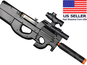 AIRSOFT P90 Style SMG AEG Electric Gun Semi Fully Automatic Battery Charger BB $49.99