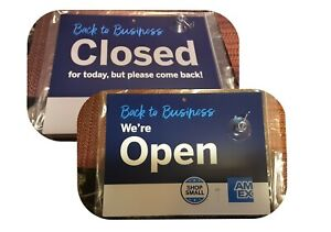 Open And Closed Blue Sign Reversible 11 X 8 5 Back To Business Decals