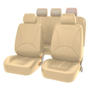 Pu Leather Full Car Seat Covers Set Beige Comfy Four Seasons Front Rear Cushions