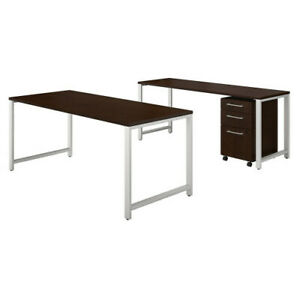 72w X 30d Table Desk W Credenza And 3 Drawer Mobile Ped Bsh400s170mr