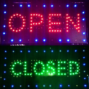 2 In 1 Open closed Bright Led Motion Business Sign Display Neon Light 20 x10 A