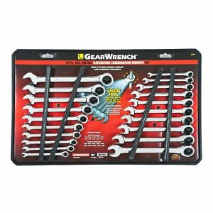 Gearwrench 20 Piece Pc Standard And Metric Ratcheting Combination Wrench Set New