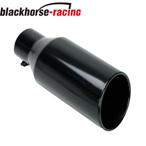 3 Inlet 5 Outlet 12 Inch Long Rolled End Angle Cut Exhaust Tip Tail Pipe Black