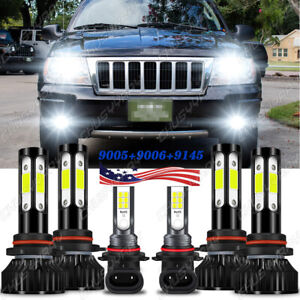 For Jeep Grand Cherokee 1999 2004 6x Led Headlight Bulbs Hi Low Beam fog Lights