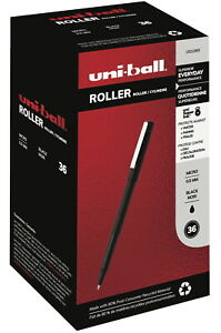 Uni ball Roller Ball Stick Pens 0 5 Mm Micro Tip Black Pack Of 36