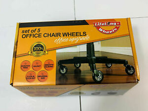 Lifelong Wheels Set Of 5 Office Chair Wheels office Upgrade Rubber Casters New