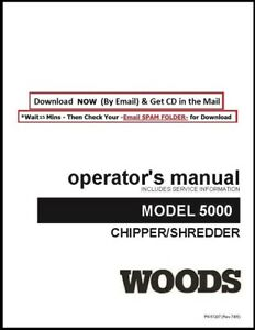 Woods Chipper Shredder 5000 Operator Instruction Manual Service Parts