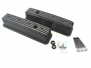 Chevrolet Sbc Black Aluminum Valve Covers Center Bolt Style Heads Finned 350