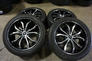 4 22 22x9 5 Lexani Lust Black Wheels Rims Tires 5x150 Toyota Tundra Sequoia