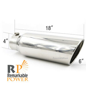 Stainless Steel Exhaust Tip Diesel 4 Inlet 6 Rolled Edge 20 Outlet 18 Long