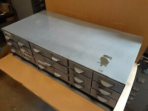 Vintage Steel Parts Cabinet 16 Drawers for Nuts Bolts Drawer Industrial Tools